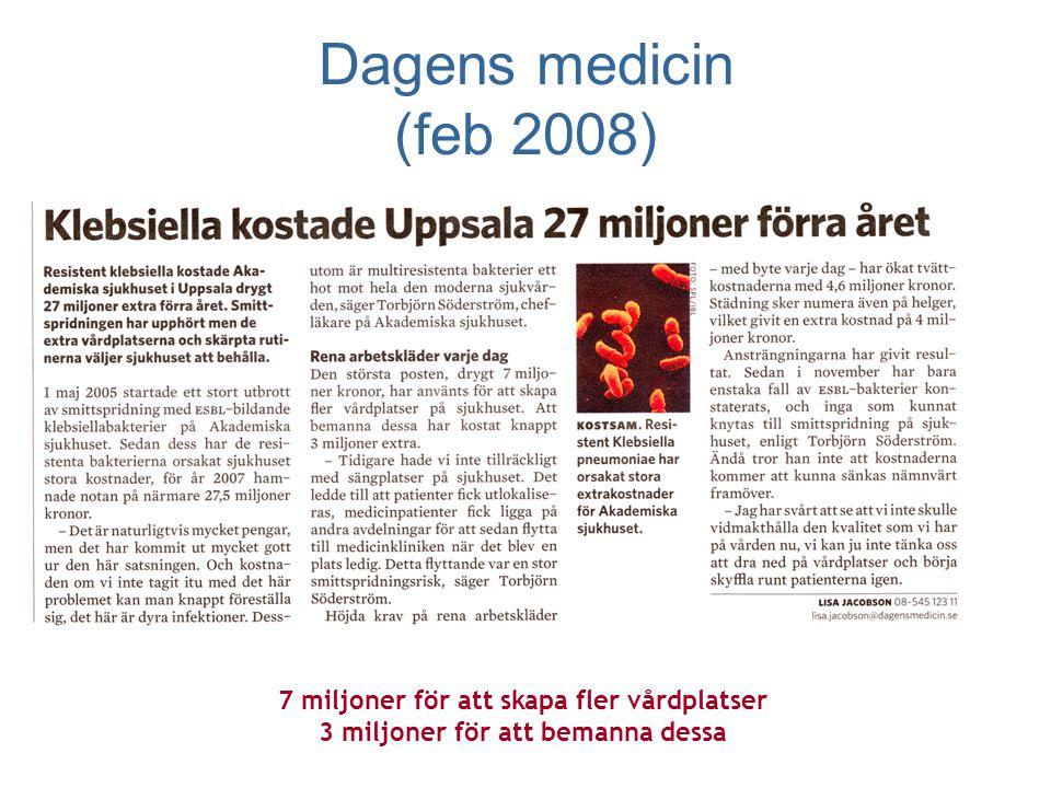 Dagens medicin (feb 2008) 7 miljoner för att skapa fler vårdplatser 3 miljoner för att bemanna dessa