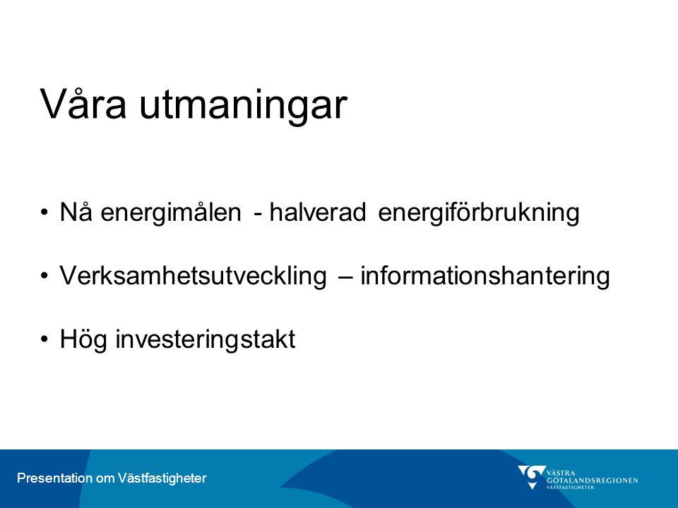 Presentation om Västfastigheter Våra utmaningar Nå energimålen - halverad energiförbrukning Verksamhetsutveckling – informationshantering Hög invester