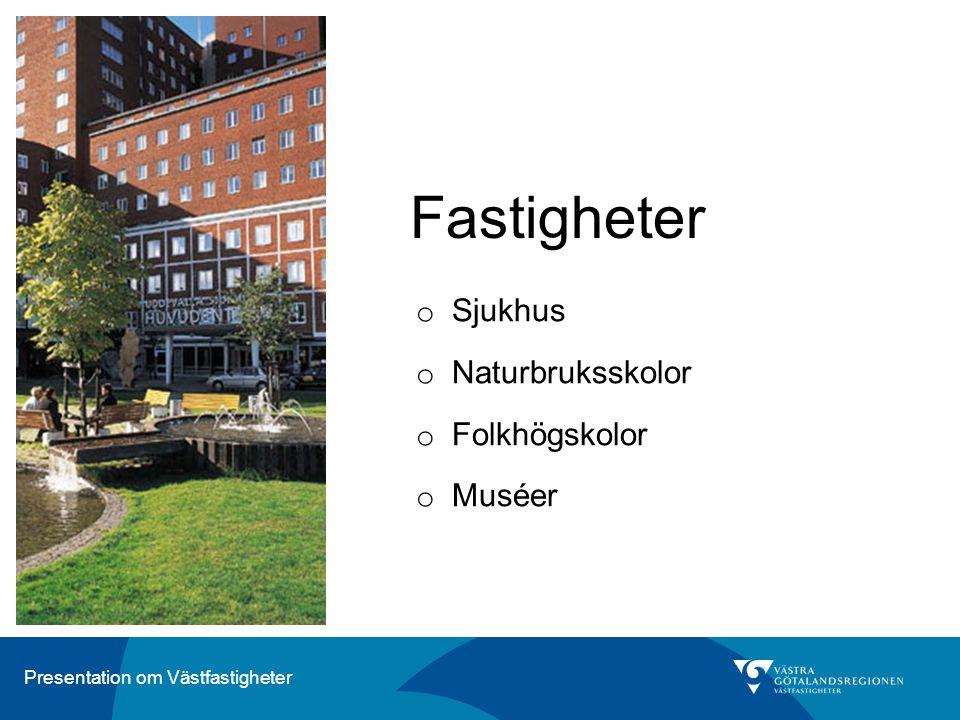 Presentation om Västfastigheter Fastigheter o Sjukhus o Naturbruksskolor o Folkhögskolor o Muséer