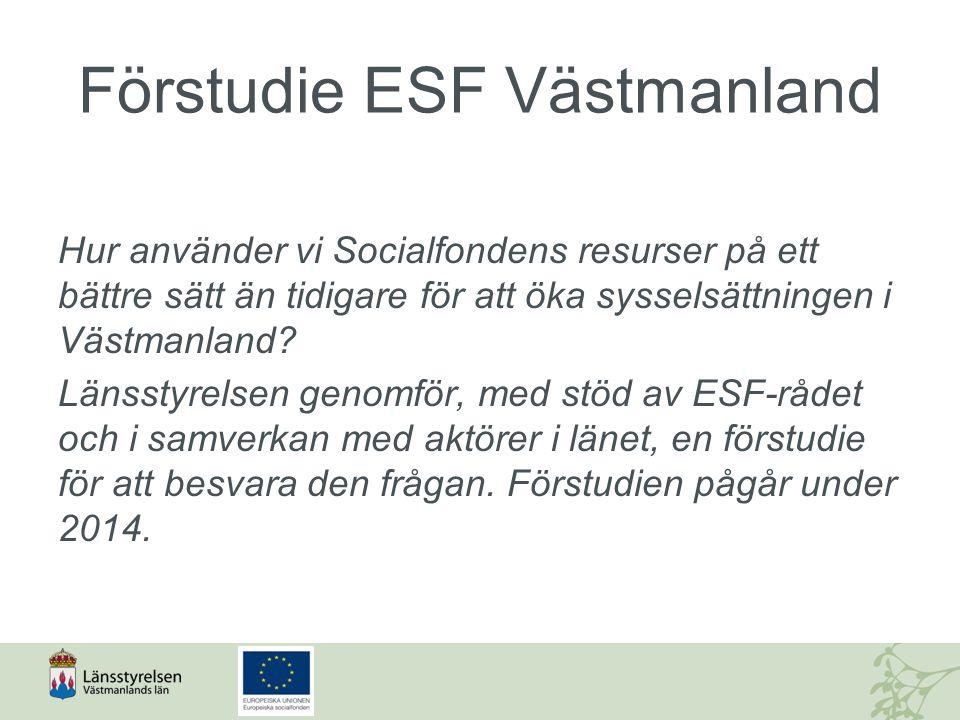 Förstudie ESF Västmanland Hur använder vi Socialfondens resurser på ett bättre sätt än tidigare för att öka sysselsättningen i Västmanland? Länsstyrel