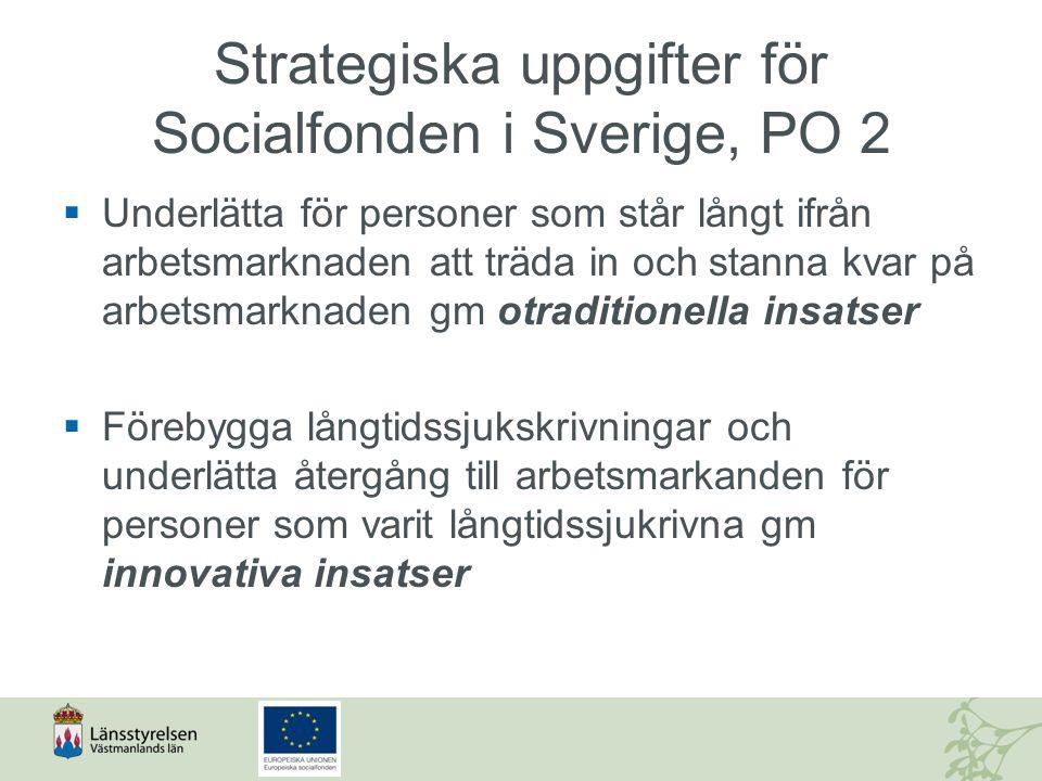 Strategiska uppgifter för Socialfonden i Sverige, PO 2  Underlätta för personer som står långt ifrån arbetsmarknaden att träda in och stanna kvar på