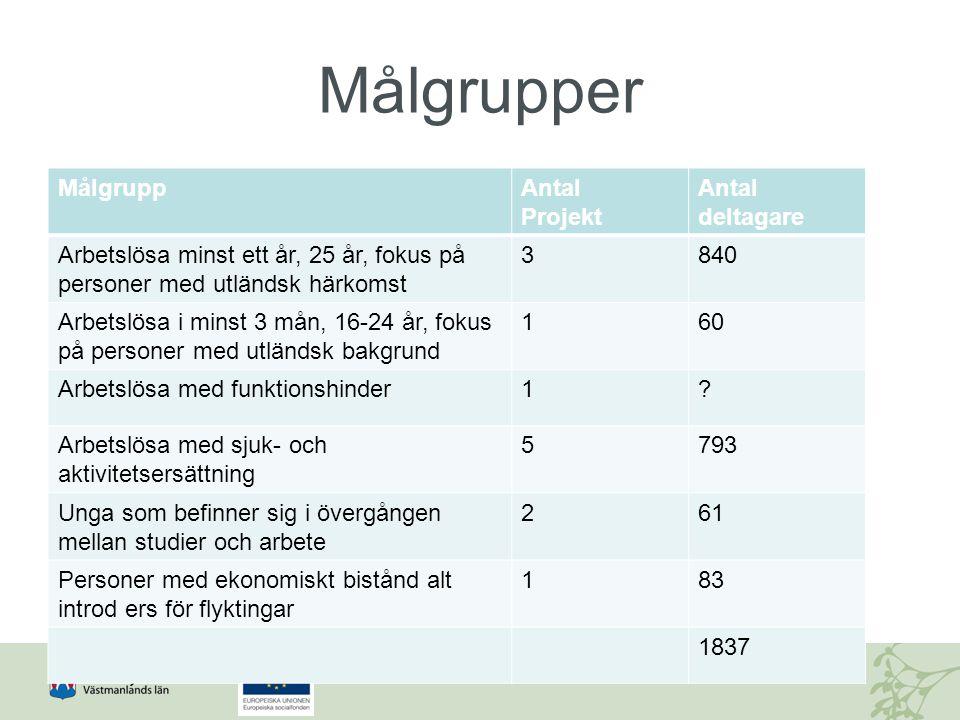 Målgrupper MålgruppAntal Projekt Antal deltagare Arbetslösa minst ett år, 25 år, fokus på personer med utländsk härkomst 3840 Arbetslösa i minst 3 mån