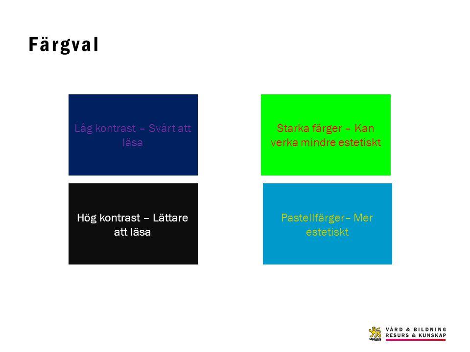 Färgval Låg kontrast – Svårt att läsa Hög kontrast – Lättare att läsa Starka färger – Kan verka mindre estetiskt Pastellfärger– Mer estetiskt