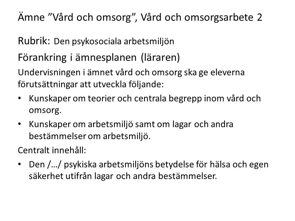 """Ämne """"Vård och omsorg"""", Vård och omsorgsarbete 2 Rubrik: Den psykosociala arbetsmiljön Förankring i ämnesplanen (läraren) Undervisningen i ämnet vård"""