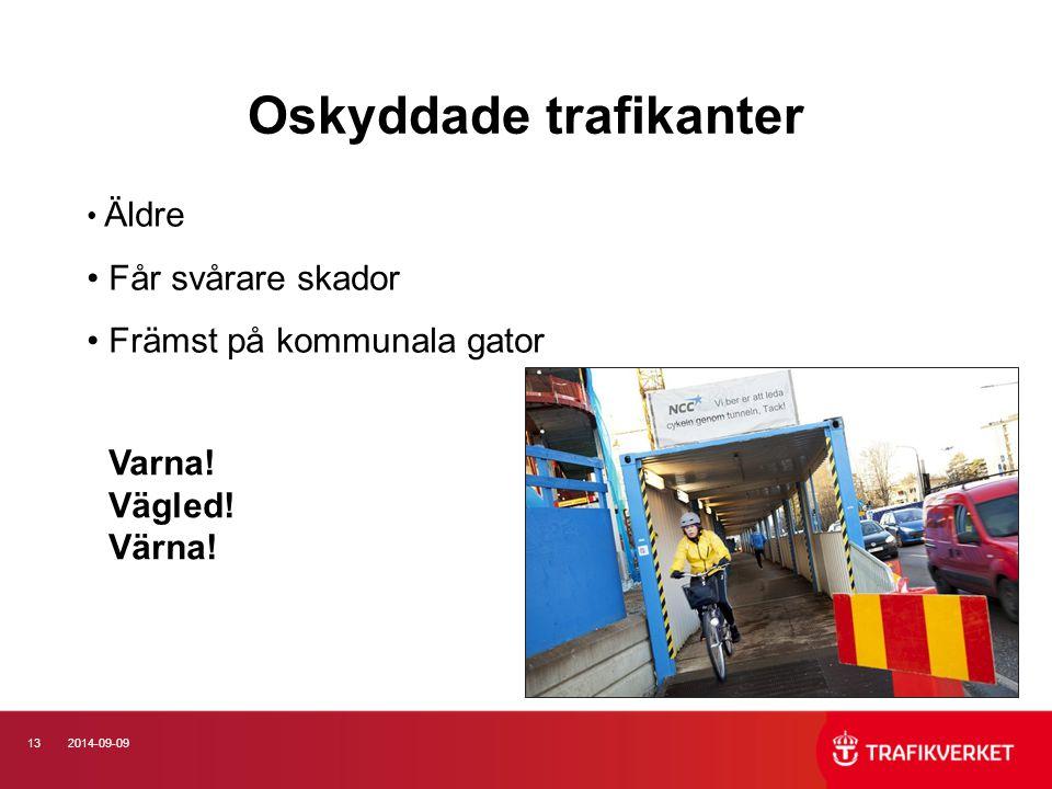 132014-09-09 Oskyddade trafikanter Äldre Får svårare skador Främst på kommunala gator Varna! Vägled! Värna!