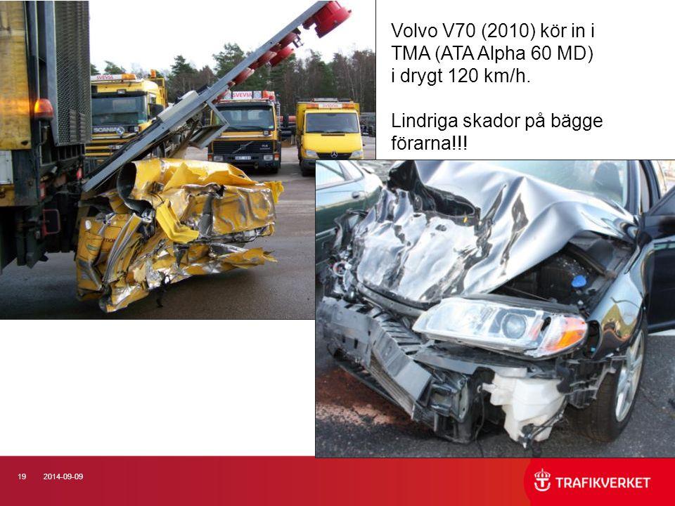192014-09-09 Volvo V70 (2010) kör in i TMA (ATA Alpha 60 MD) i drygt 120 km/h. Lindriga skador på bägge förarna!!!