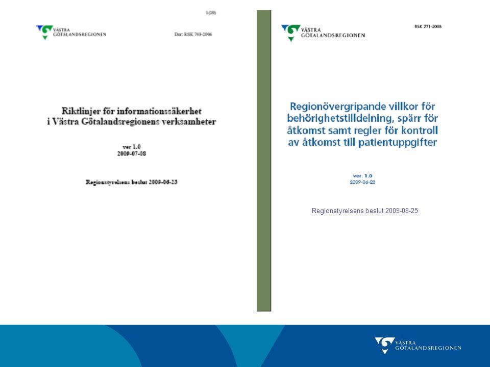 Regionstyrelsens beslut 2009-08-25