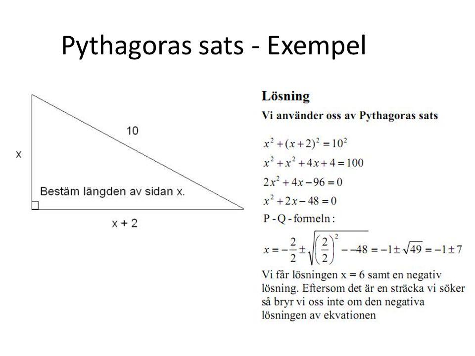 Pythagoras sats - Exempel