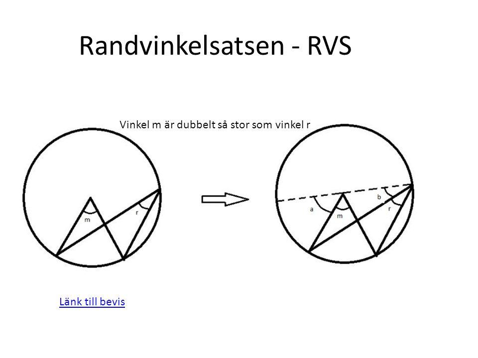 Länk till bevis Vinkel m är dubbelt så stor som vinkel r