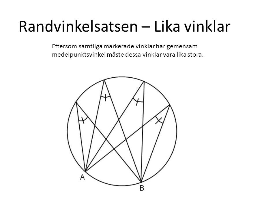 Randvinkelsatsen – Lika vinklar Eftersom samtliga markerade vinklar har gemensam medelpunktsvinkel måste dessa vinklar vara lika stora.