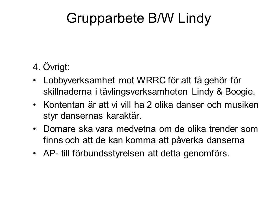 Grupparbete B/W Lindy 4. Övrigt: Lobbyverksamhet mot WRRC för att få gehör för skillnaderna i tävlingsverksamheten Lindy & Boogie. Kontentan är att vi