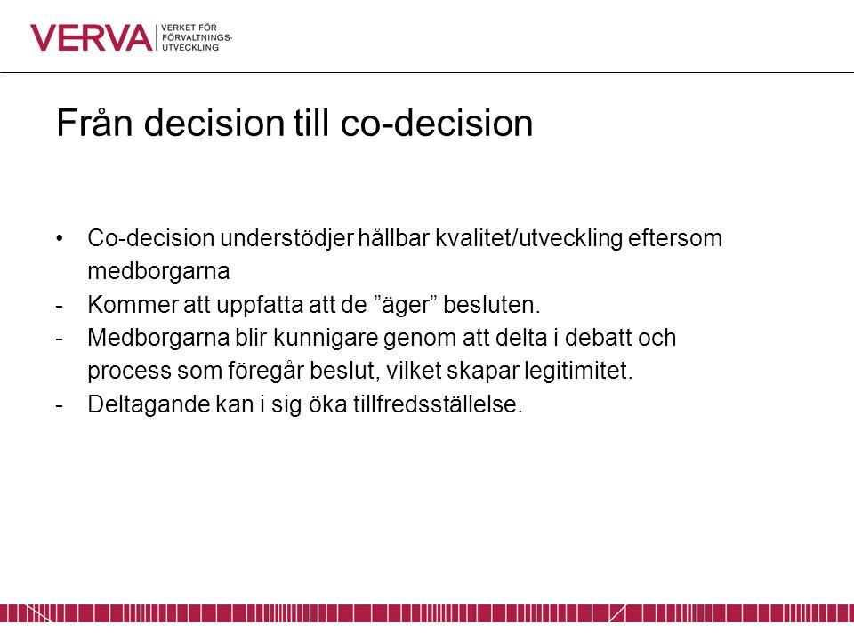 Från decision till co-decision Co-decision understödjer hållbar kvalitet/utveckling eftersom medborgarna -Kommer att uppfatta att de äger besluten.