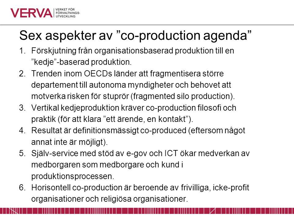 Sex aspekter av co-production agenda 1.Förskjutning från organisationsbaserad produktion till en kedje -baserad produktion.