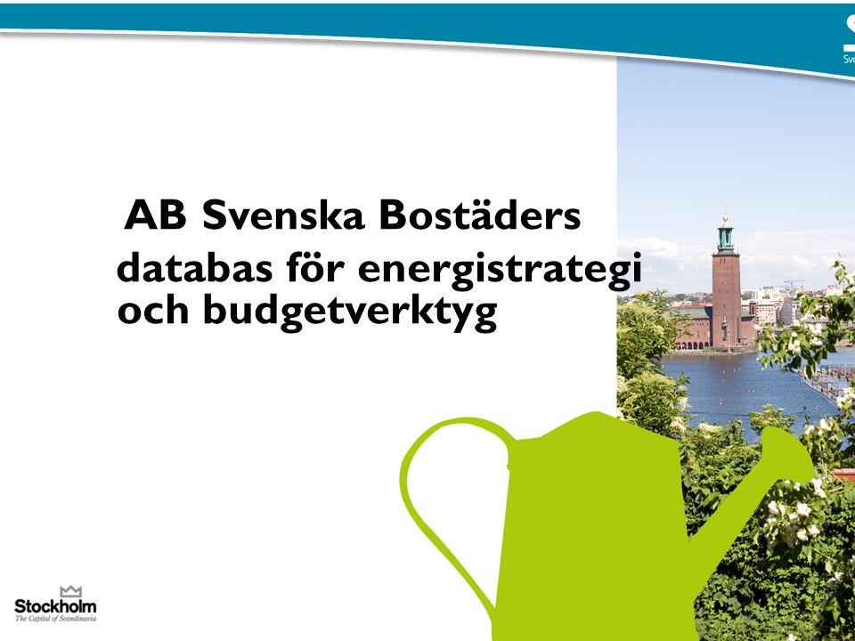 AB Svenska Bostäders databas för energistrategi och budgetverktyg PUNKTER