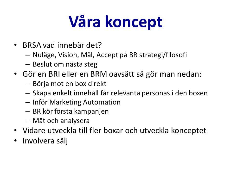 Våra koncept BRSA vad innebär det? – Nuläge, Vision, Mål, Accept på BR strategi/filosofi – Beslut om nästa steg Gör en BRI eller en BRM oavsätt så gör