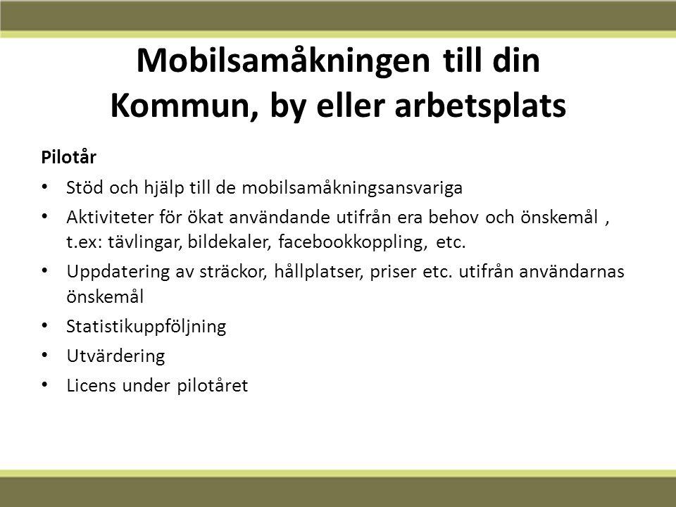 Mobilsamåkningen till din Kommun, by eller arbetsplats Pilotår Stöd och hjälp till de mobilsamåkningsansvariga Aktiviteter för ökat användande utifrån era behov och önskemål, t.ex: tävlingar, bildekaler, facebookkoppling, etc.