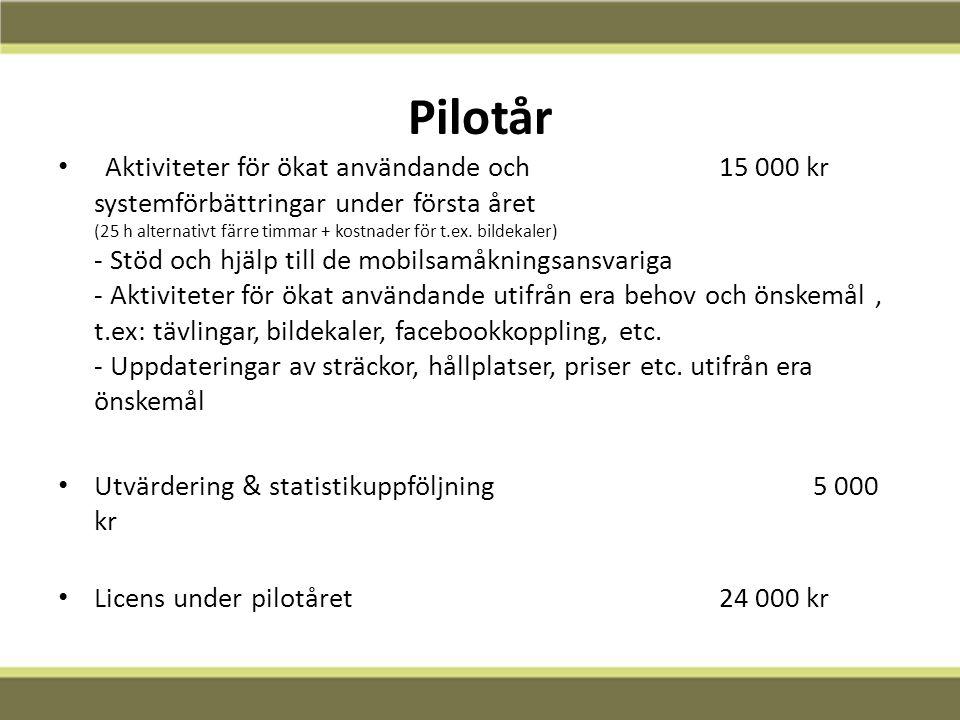 12-02-13 Pilotår Aktiviteter för ökat användande och 15 000 kr systemförbättringar under första året (25 h alternativt färre timmar + kostnader för t.ex.