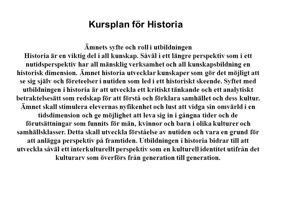 Kursplan för Historia Ämnets syfte och roll i utbildningen Historia är en viktig del i all kunskap. Såväl i ett längre perspektiv som i ett nutidspers
