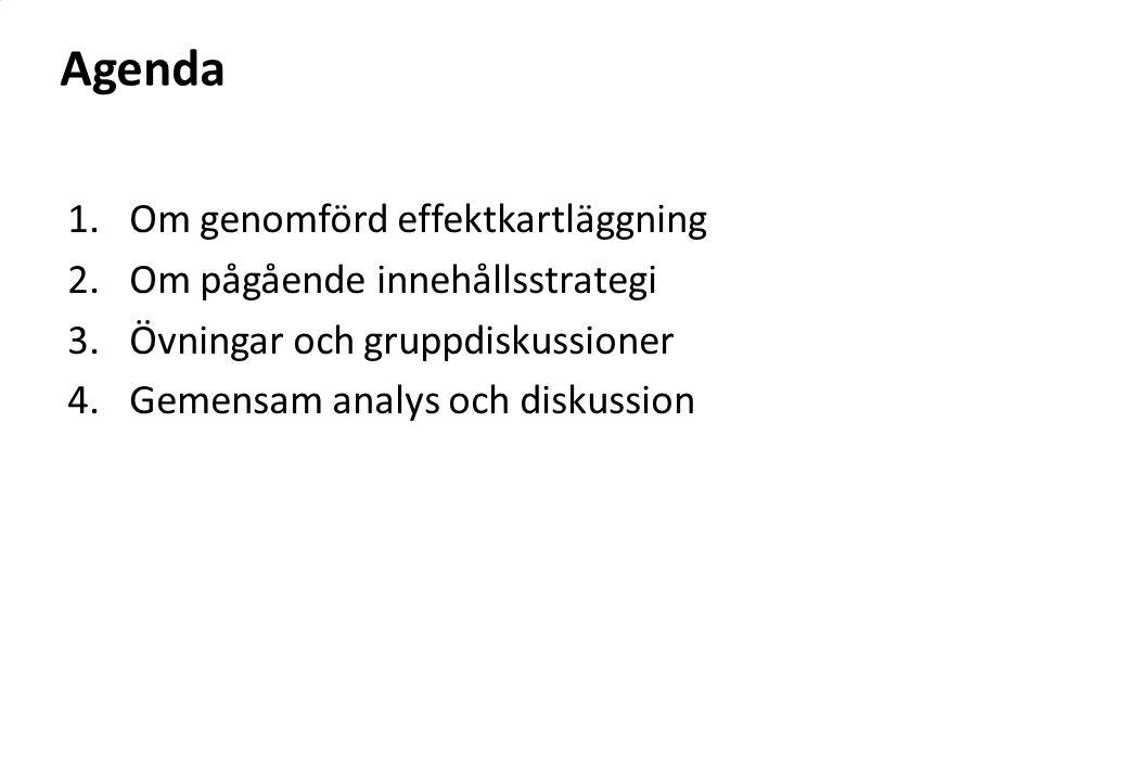 Agenda 1.Om genomförd effektkartläggning 2.Om pågående innehållsstrategi 3.Övningar och gruppdiskussioner 4.Gemensam analys och diskussion