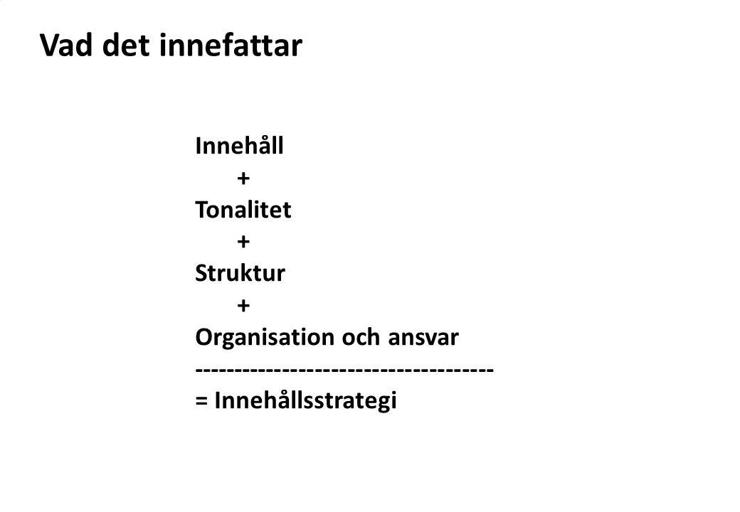 Vad det innefattar Innehåll + Tonalitet + Struktur + Organisation och ansvar ------------------------------------- = Innehållsstrategi
