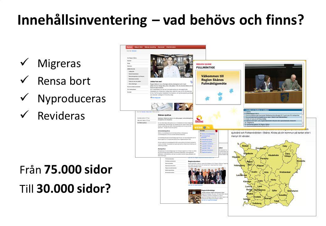 Innehållsinventering – vad behövs och finns? Migreras Rensa bort Nyproduceras Revideras Från 75.000 sidor Till 30.000 sidor?