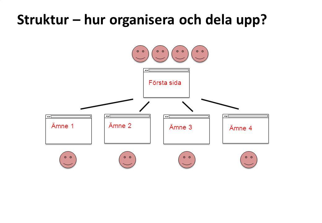 Struktur – hur organisera och dela upp? Ämne 2 Ämne 3 Ämne 1 Ämne 4 Första sida