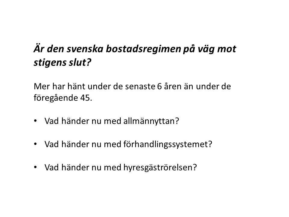 Är den svenska bostadsregimen på väg mot stigens slut? Mer har hänt under de senaste 6 åren än under de föregående 45. Vad händer nu med allmännyttan?