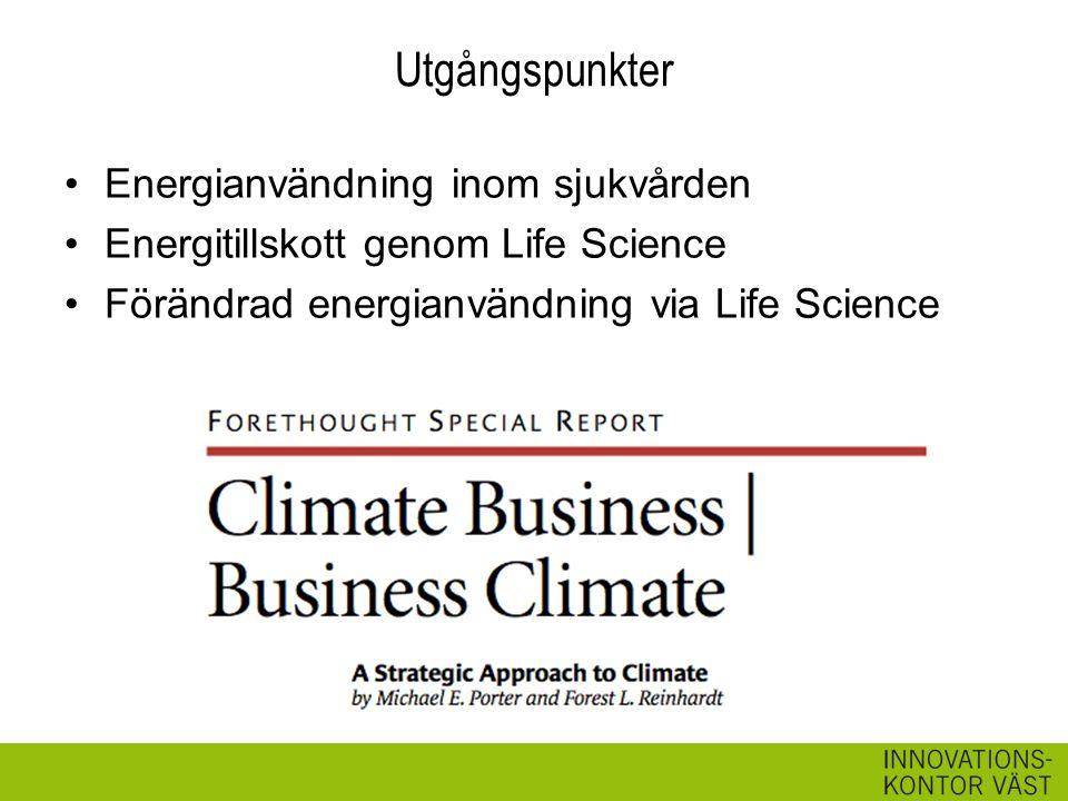 Utgångspunkter Energianvändning inom sjukvården Energitillskott genom Life Science Förändrad energianvändning via Life Science