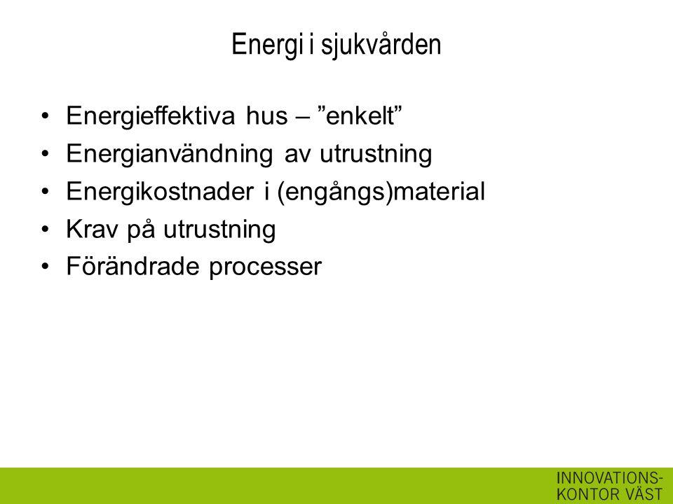 Energi i sjukvården Energieffektiva hus – enkelt Energianvändning av utrustning Energikostnader i (engångs)material Krav på utrustning Förändrade processer
