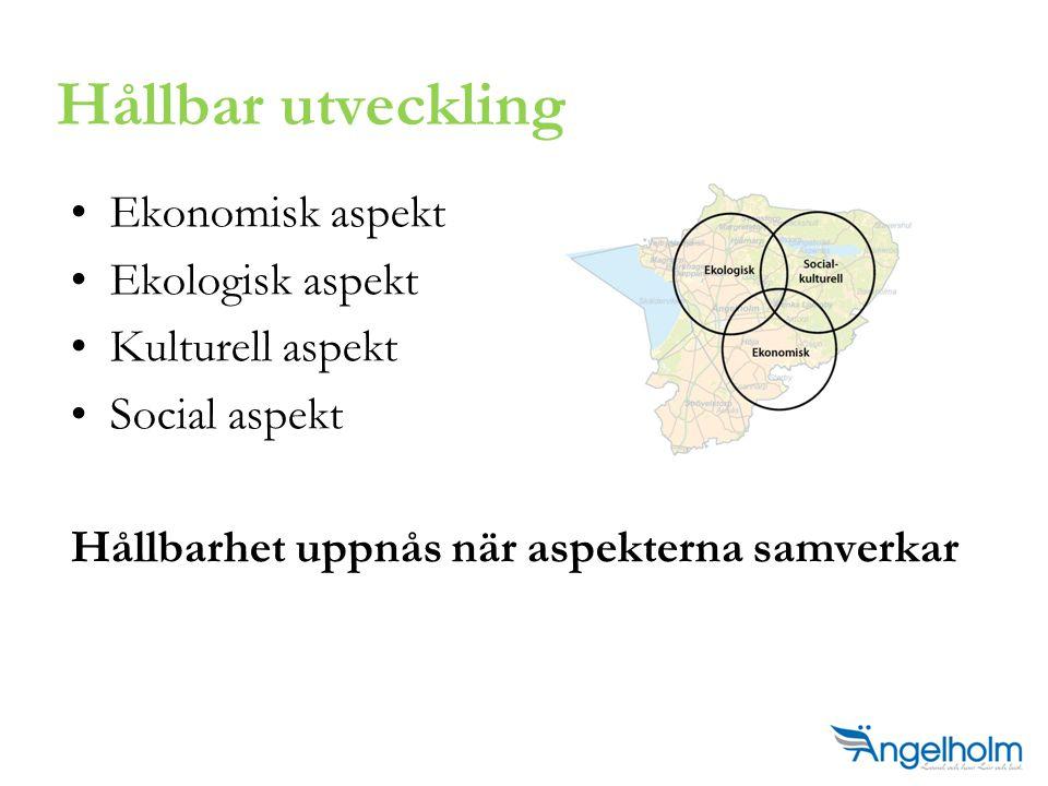 Ekonomisk aspekt Ekologisk aspekt Kulturell aspekt Social aspekt Hållbarhet uppnås när aspekterna samverkar Hållbar utveckling