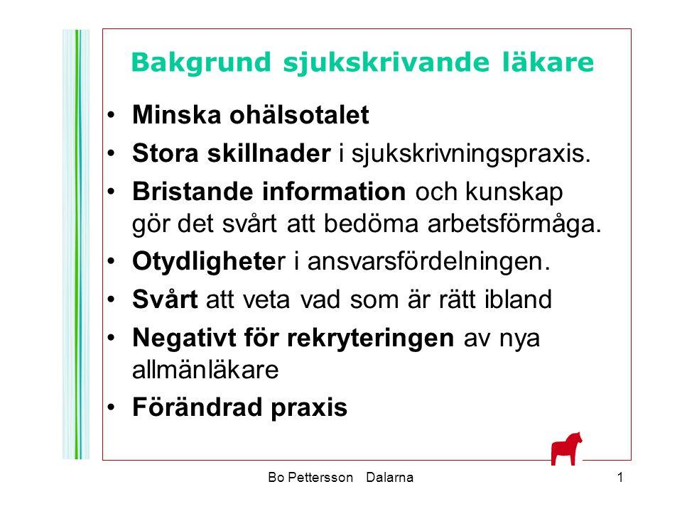 Bo Pettersson Dalarna1 Minska ohälsotalet Stora skillnader i sjukskrivningspraxis. Bristande information och kunskap gör det svårt att bedöma arbetsfö