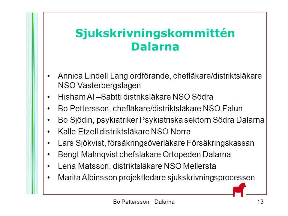 Bo Pettersson Dalarna13 Annica Lindell Lang ordförande, chefläkare/distriktsläkare NSO Västerbergslagen Hisham Al –Sabtti distriksläkare NSO Södra Bo