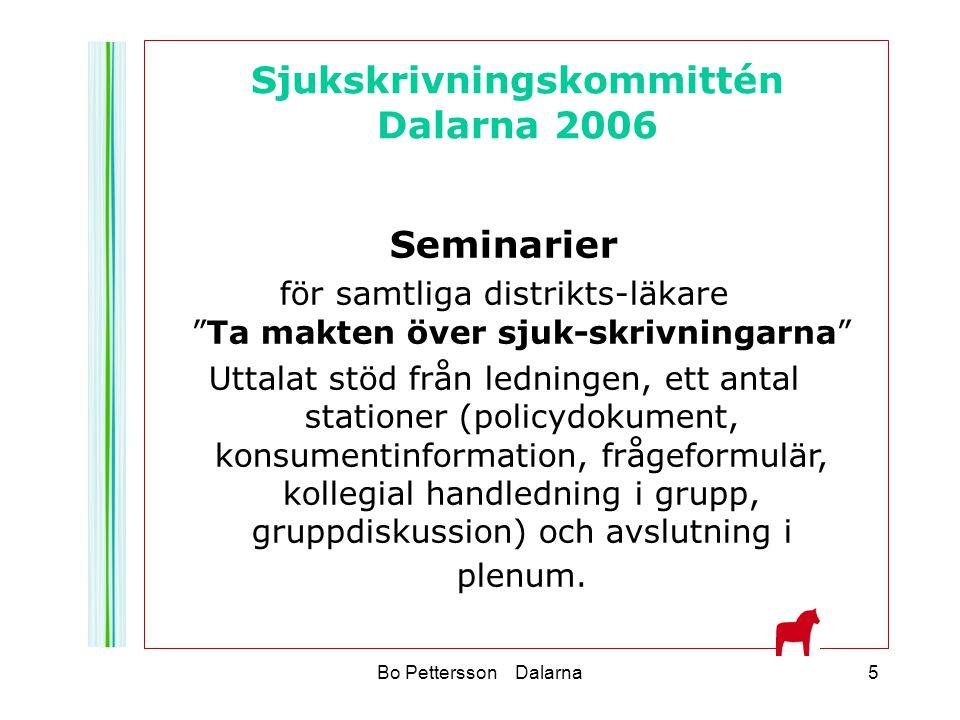 """Bo Pettersson Dalarna5 Seminarier för samtliga distrikts-läkare """"Ta makten över sjuk-skrivningarna"""" Uttalat stöd från ledningen, ett antal stationer ("""