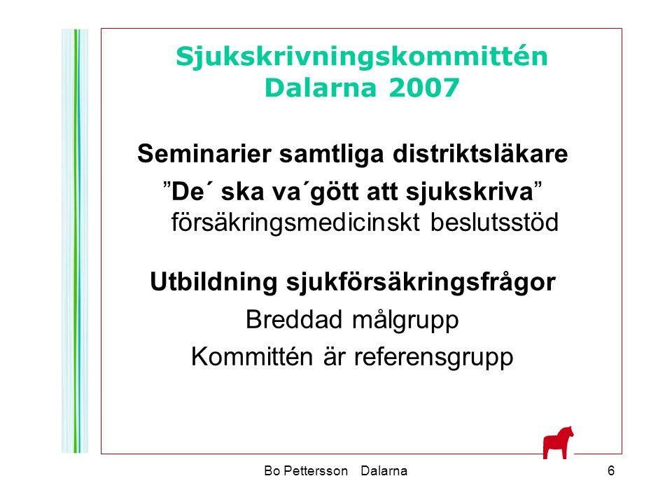 """Bo Pettersson Dalarna6 Seminarier samtliga distriktsläkare """"De´ ska va´gött att sjukskriva"""" försäkringsmedicinskt beslutsstöd Utbildning sjukförsäkrin"""