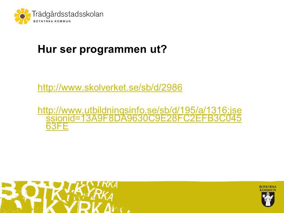 Hur ser programmen ut? http://www.skolverket.se/sb/d/2986 http://www.utbildningsinfo.se/sb/d/195/a/1316;jse ssionid=13A9F8DA9630C9E28FC2EFB3C045 63FE