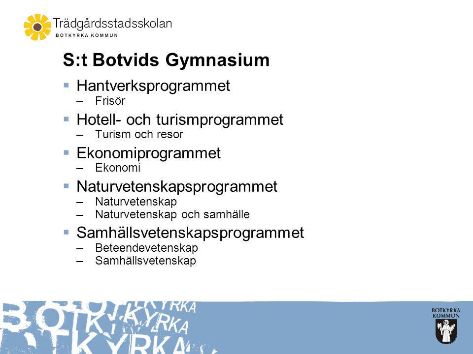 S:t Botvids Gymnasium  Hantverksprogrammet –Frisör  Hotell- och turismprogrammet –Turism och resor  Ekonomiprogrammet –Ekonomi  Naturvetenskapspro