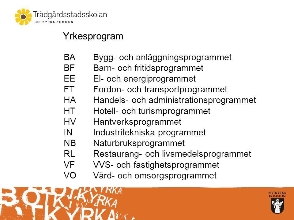Yrkesprogram BABygg- och anläggningsprogrammet BFBarn- och fritidsprogrammet EEEl- och energiprogrammet FTFordon- och transportprogrammet HAHandels- o