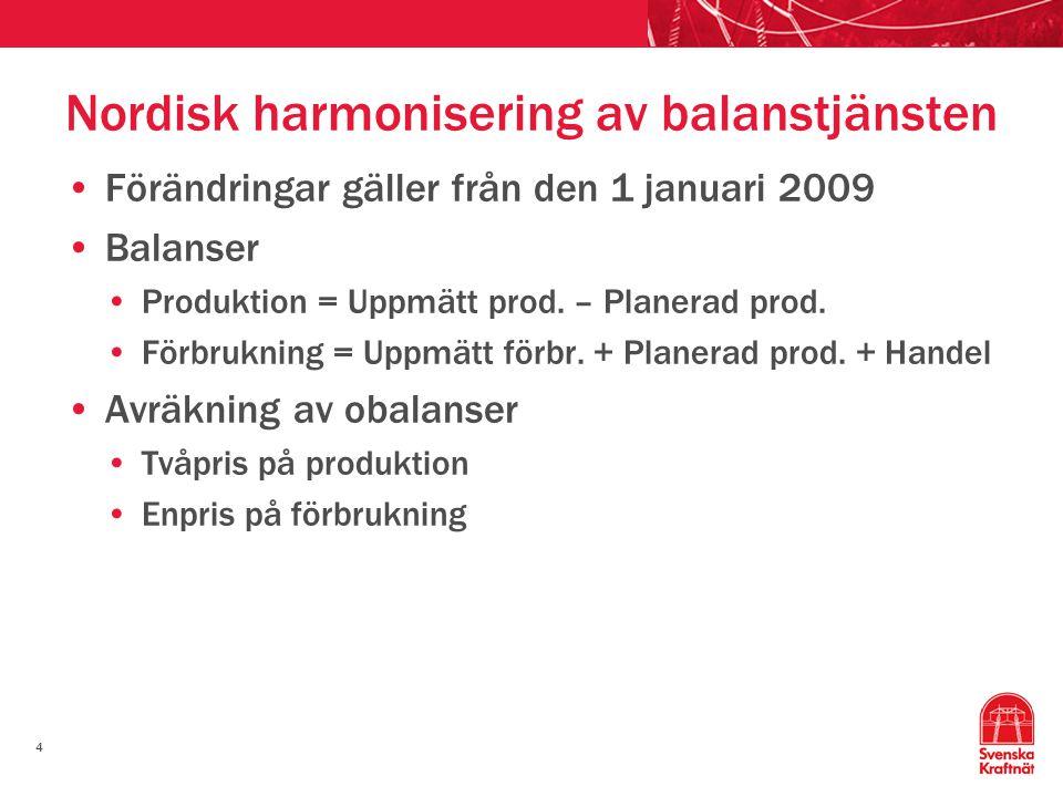 4 Nordisk harmonisering av balanstjänsten Förändringar gäller från den 1 januari 2009 Balanser Produktion = Uppmätt prod. – Planerad prod. Förbrukning