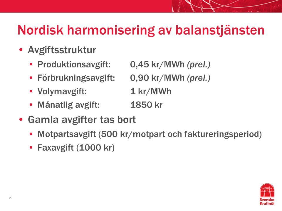 5 Nordisk harmonisering av balanstjänsten Avgiftsstruktur Produktionsavgift:0,45 kr/MWh (prel.) Förbrukningsavgift:0,90 kr/MWh (prel.) Volymavgift:1 k