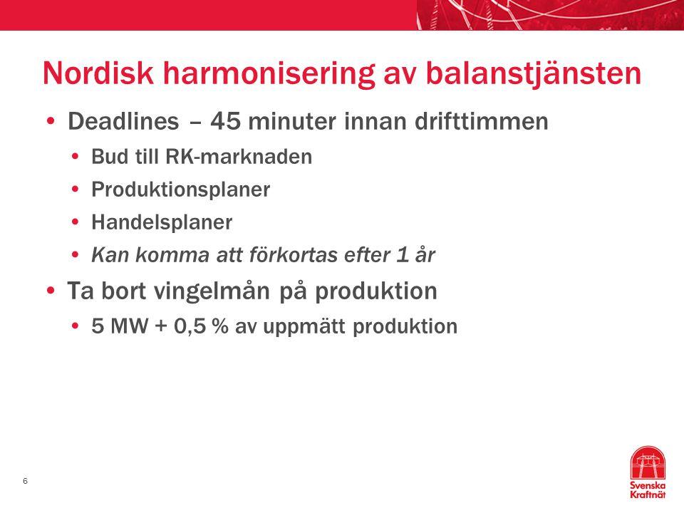 6 Nordisk harmonisering av balanstjänsten Deadlines – 45 minuter innan drifttimmen Bud till RK-marknaden Produktionsplaner Handelsplaner Kan komma att