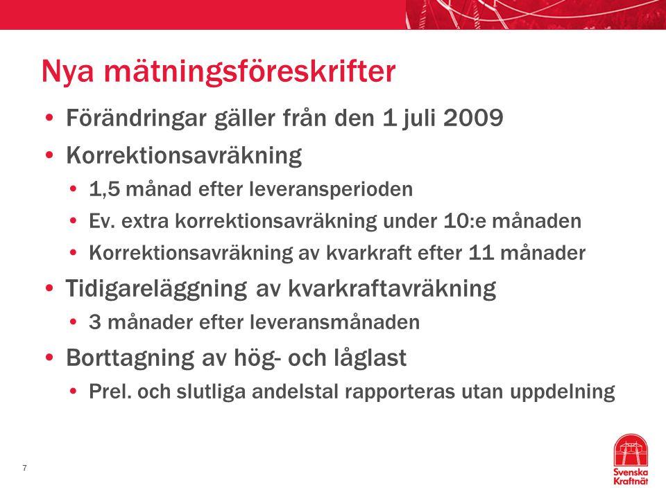 7 Nya mätningsföreskrifter Förändringar gäller från den 1 juli 2009 Korrektionsavräkning 1,5 månad efter leveransperioden Ev. extra korrektionsavräkni