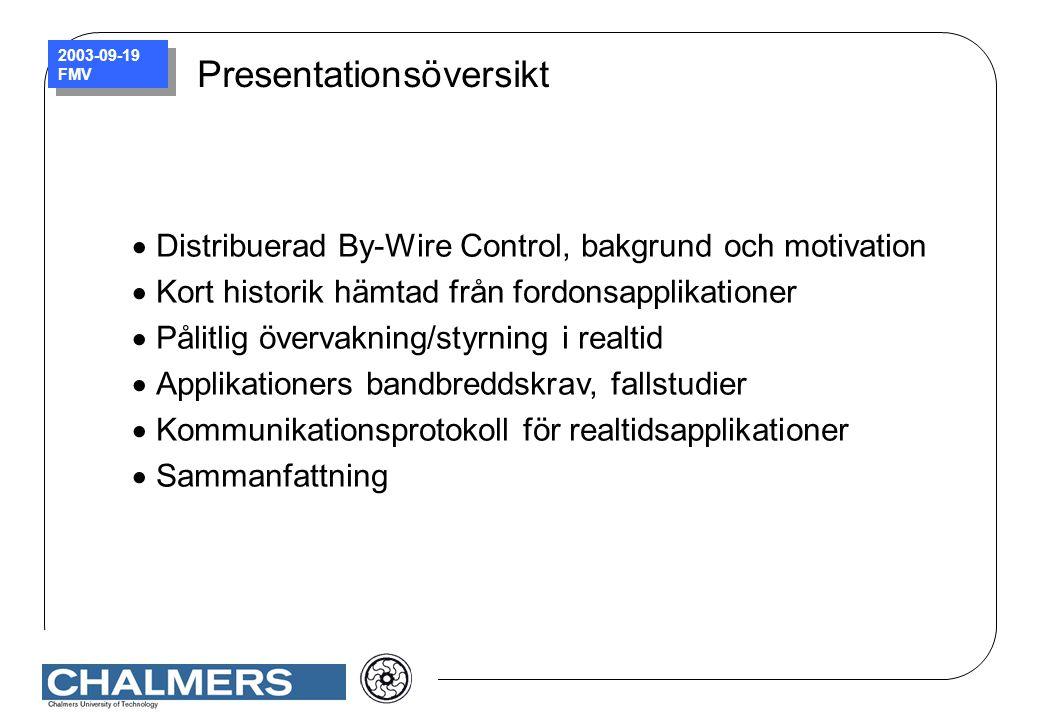 2003-09-19 FMV Presentationsöversikt  Distribuerad By-Wire Control, bakgrund och motivation  Kort historik hämtad från fordonsapplikationer  Pålitl