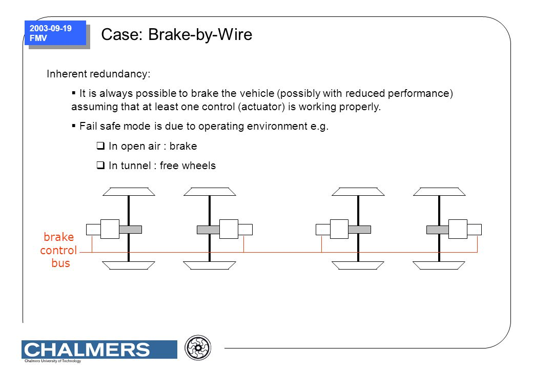 2003-09-19 FMV Case: Brake-by-Wire brake control bus Inherent redundancy:  It is always possible to brake the vehicle (possibly with reduced performa