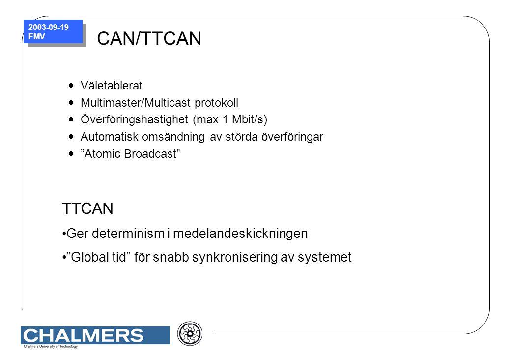 2003-09-19 FMV CAN/TTCAN  Väletablerat  Multimaster/Multicast protokoll  Överföringshastighet (max 1 Mbit/s)  Automatisk omsändning av störda över