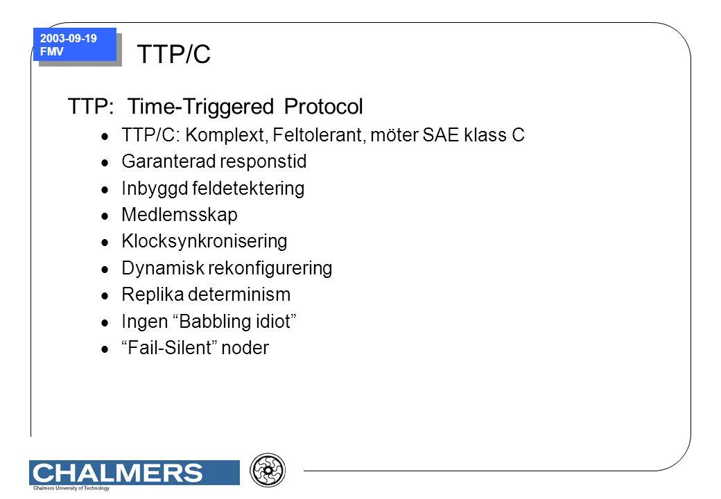 2003-09-19 FMV TTP/C TTP: Time-Triggered Protocol  TTP/C: Komplext, Feltolerant, möter SAE klass C  Garanterad responstid  Inbyggd feldetektering 