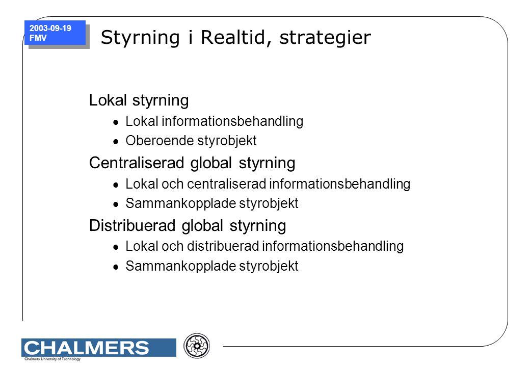 2003-09-19 FMV Styrning i Realtid, strategier Lokal styrning  Lokal informationsbehandling  Oberoende styrobjekt Centraliserad global styrning  Lok