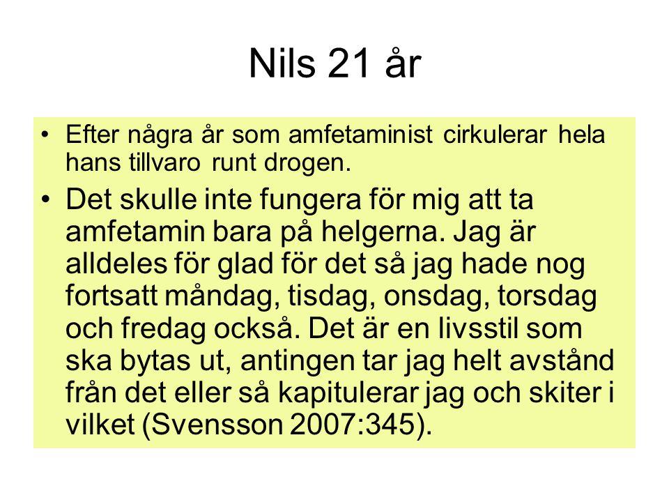 Nils 21 år Efter några år som amfetaminist cirkulerar hela hans tillvaro runt drogen.