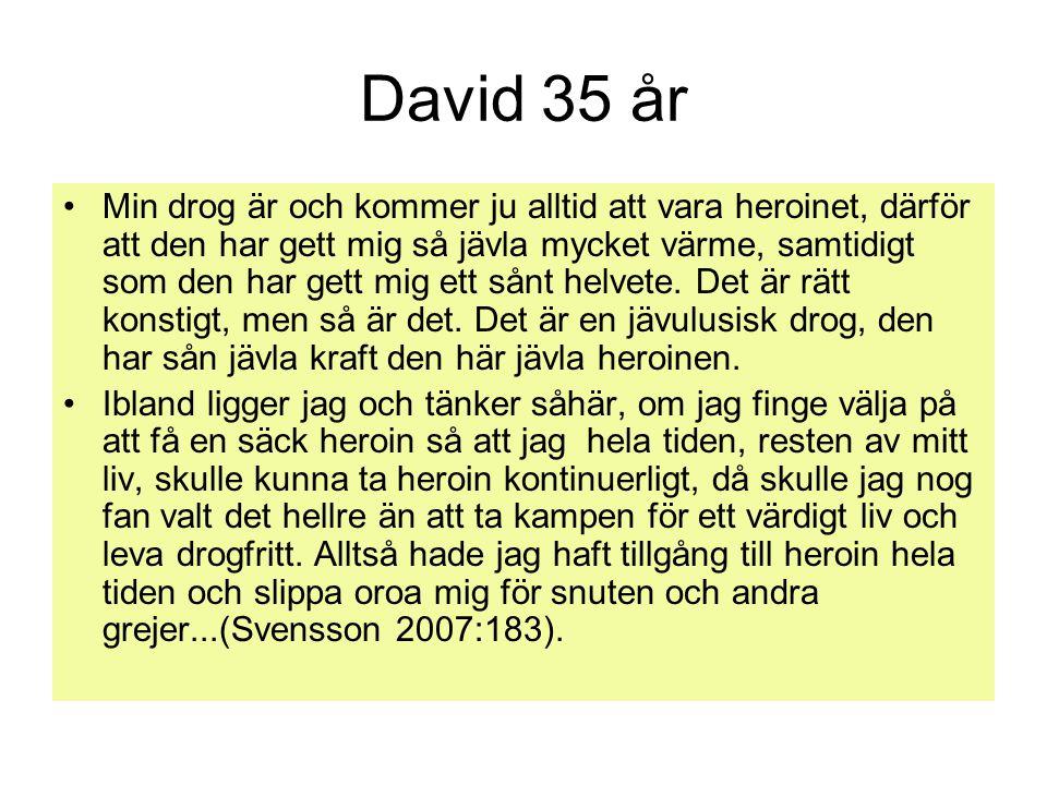 David 35 år Min drog är och kommer ju alltid att vara heroinet, därför att den har gett mig så jävla mycket värme, samtidigt som den har gett mig ett sånt helvete.