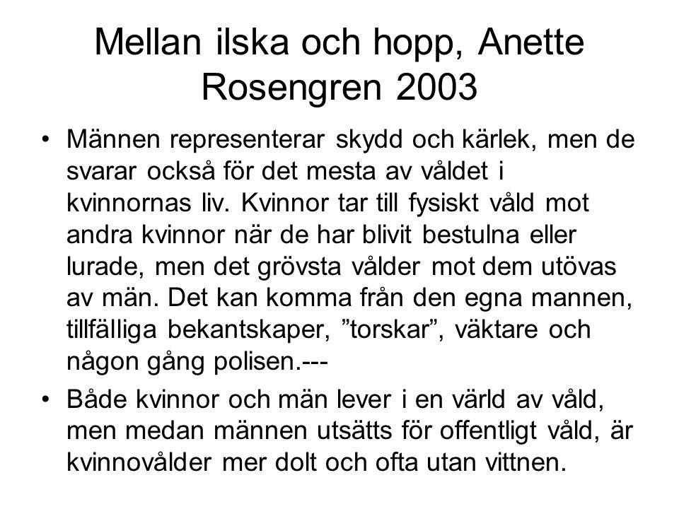 Mellan ilska och hopp, Anette Rosengren 2003 Männen representerar skydd och kärlek, men de svarar också för det mesta av våldet i kvinnornas liv.