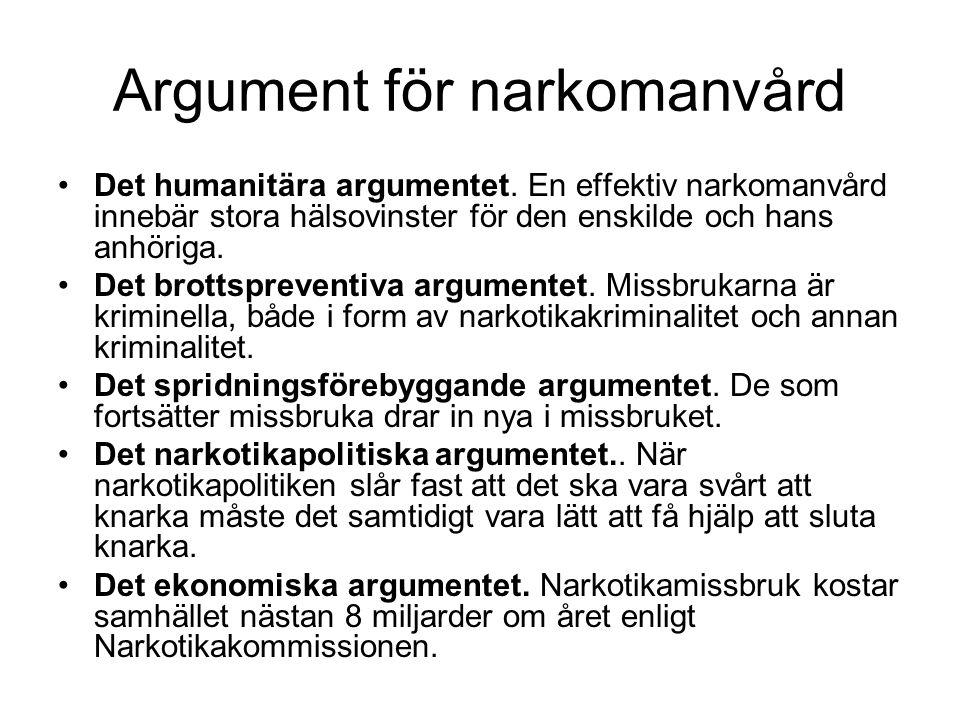 Argument för narkomanvård Det humanitära argumentet.